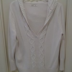 Old Navy Sweaters - Old Navy XXL Ivory Hoodie Cable Knit Sweater